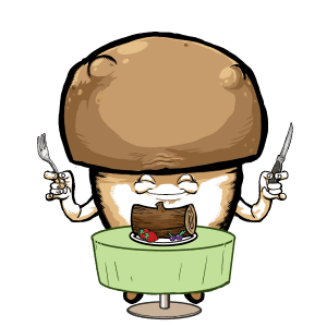 Cartoon mushroom links to join Dining Shrroom group on Facebook
